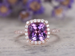 DUPUY 8mm Cushion halo classic design  Amethyst engagement ring
