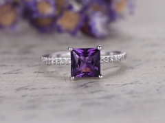 DUPUY 6mm Princess  cut Amethyst engagement ring  6mm Princess