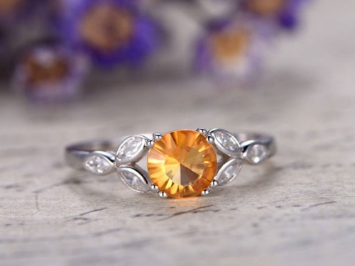 DUPUY 7mm Round cut  Yellow citrine topaz engagement ring