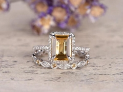 DUPUY 2pcs emerald cut citrine engagement ring Full eternity band