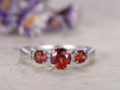 DUPUY 0.5 Carat Round Cut Garnet Engagement Ring