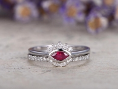 DUPUY 0.25ct Ruby curved anniversary ring set