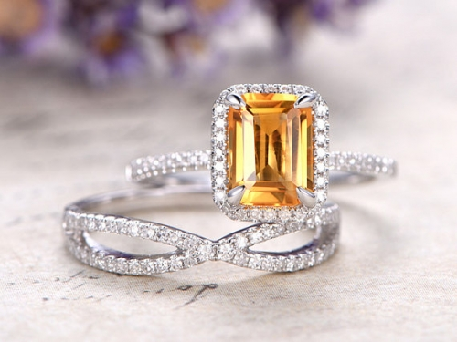 DUPUY natura citrine engagement ring curved loop wedding band