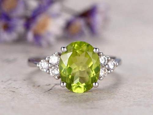 DUPUY Oval Peridot engagement ring 3 stones White gold promise ring