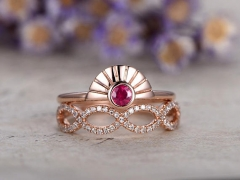 DUPUY 0.2ct Red Ruby  bridal ring set