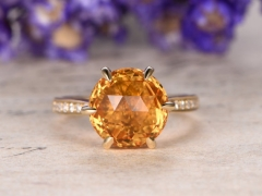DUPUY 10mm Round cut  Natual citrine engagement ring