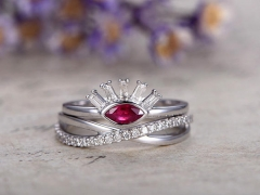 DUPUY 0.29 ct Red Ruby Engagement Ring set