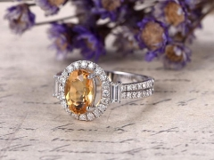 DUPUY Citrine white gold  split shank diamond ring