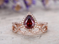 DUPUY 2pcs 6x8mm Pear Cut Garnet Engagement Ring set