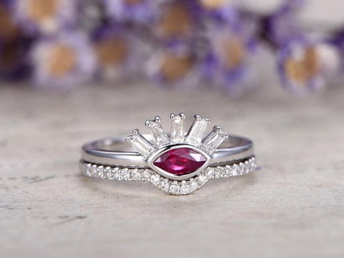 DUPUY 0.29ct Red Ruby anniversary ring set