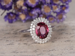 DUPUY VVS-H Natural Red Garnet Engagement Ring