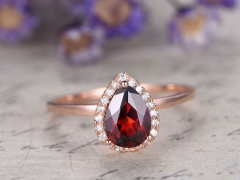 DUPUY 6x8mm Pear Cut Garnet Engagement Ring