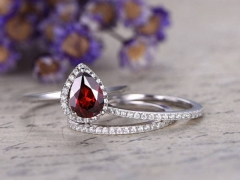 DUPUY 3pcs natural 6*8 pear cut Red garnet bridal ring set