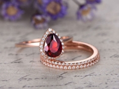 DUPUY 3pcs natural Red garnet bridal ring set