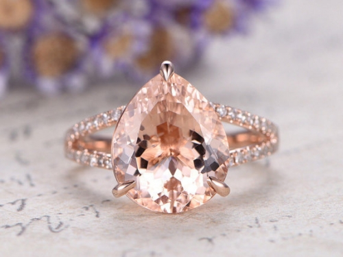 DUPUY 10x12mm big Morganite engagement ring