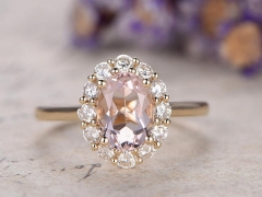DUPUY 6x8mm oval Pink Morganite moissanite  engagement ring