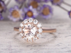 DUPUY 7mm Round cut VVS Morganite engagement ring