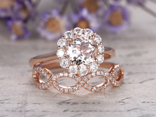 DUPUY 2pcs Rose Gold Morganite engagement ring  twisted matching band