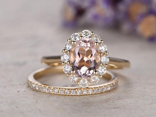 DUPUY 2pcs 6x8mm Oval Pink Morganite engagement ring set