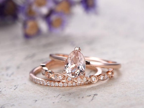 DUPUY 3pcs Rose Gold Morganite engagement ring set