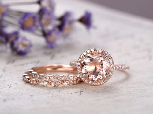 DUPUY 3pcs 9mm Round Pink Morganite engagement ring set