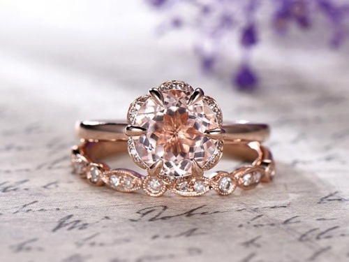 DUPUY 8mm  Round Morganite  floral wedding ring set