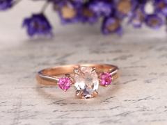 DUPUY 6x8mm Oval Morganite Tourmaline engagement ring