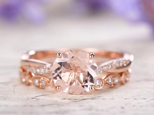 DUPUY 2pcs 8mm Round Morganite wedding ring set