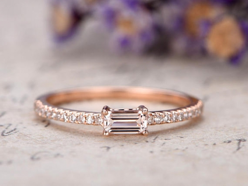 DUPUY Emerald cut VS Pink Morganite promise ring