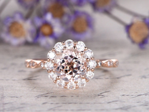 DUPUY 7mm  round pink Morganite engagement ring