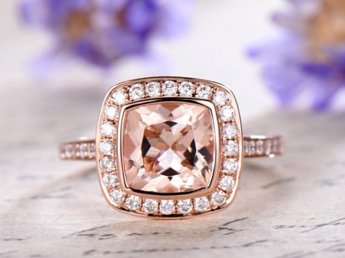 DUPUY 6mm cushion cut Morganite engagement ring
