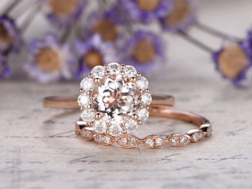 DUPUY 2pcs 7mm VVS  Morganite engagement ring