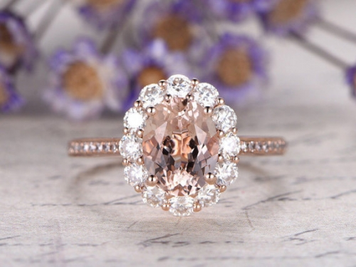 DUPUY 6x8mm oval pink Morganite engagement ring