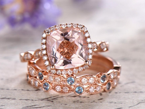 DUPUY 3pcs 9mm cushion cut Morganite Engagement ring topaz band