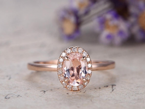 DUPUY 5x7mm Oval Morganite Rose Gold engagement ring