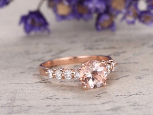 DUPUY 6.5mm Round  Morganite engagement ring
