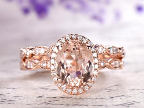 DUPUY 2pcs 6*8mm oval Morganite bridal set
