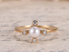 DUPUY 5mm Akoya Pearl Engagement Ring Yellow Gold