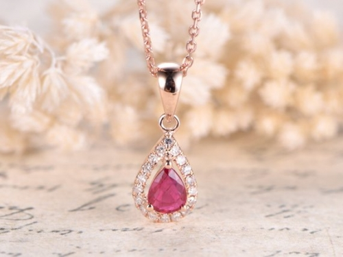 DUPUY VS Pear Cut Natural Ruby Engagement Pendant