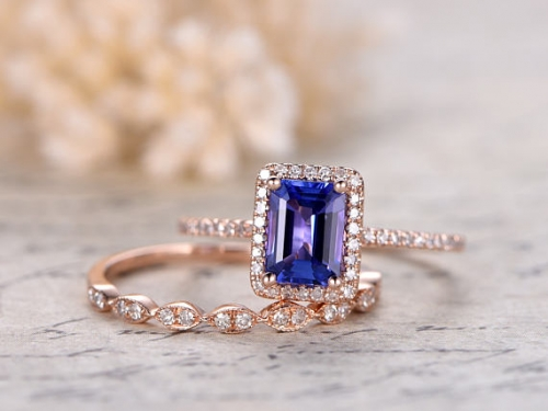 DUPUY 5X7mm VS Natural Tanzanite Promise Ring set