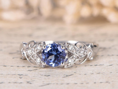 DUPUY VS Natural Deco Floral Tanzanite Anniversary Ring