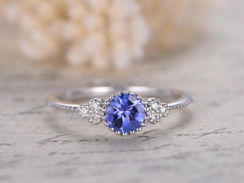 DUPUY 5mm VS natural Tanzanite Engagement Ring Deco Floral Band