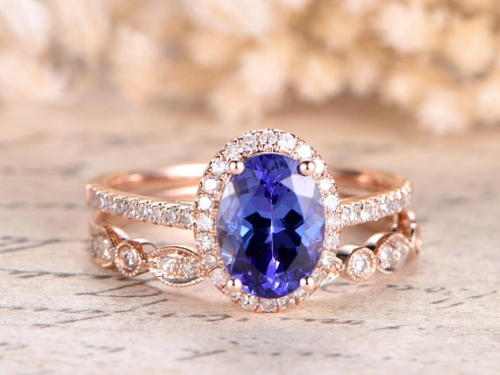DUPUY 6x8mm Oval Natural Tanzanite Engagement Ring Set