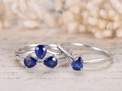 DUPUY VS Natural Tanzanite  4pcs Bridal Ring Set