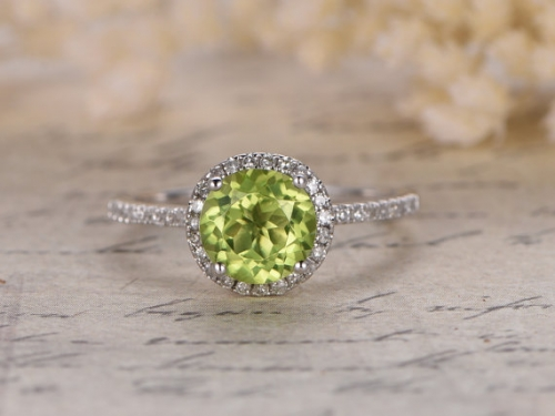 DUPUY 7mm Round Cut Peridot Engagement Ring