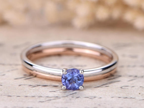 DUPUY 4mm Natural Tanzanite Engagement Ring Set