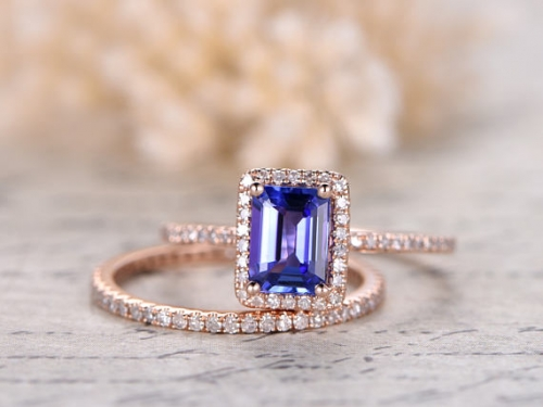 DUPUY 5X7mm VS Natural Tanzanite Wedding Ring set
