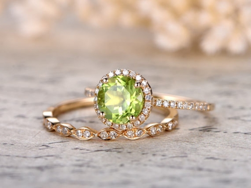 DUPUY 7mm Round Cut  Peridot Engagement Ring Set