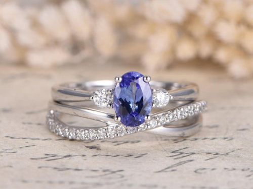 DUPUY VS 5*7mm Natural Tanzanite Engagement Diamond Wedding Band