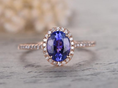 DUPUY 6x8mm Oval Cut Natural Tanzanite Engagement Ring Vintage Halo